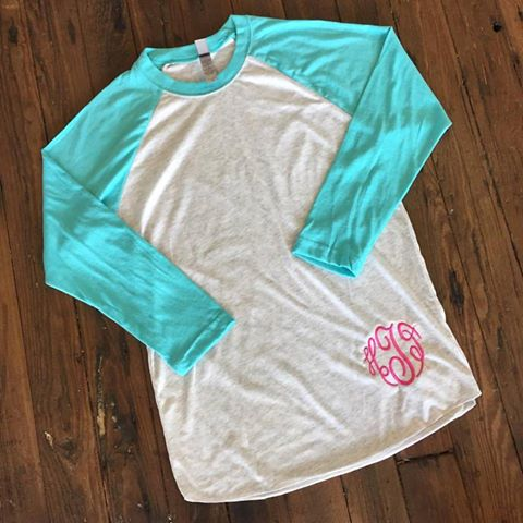 Monogrammed Raglan Tee-17 Colors Available (Unisex sizing. Size down for fitted look.)