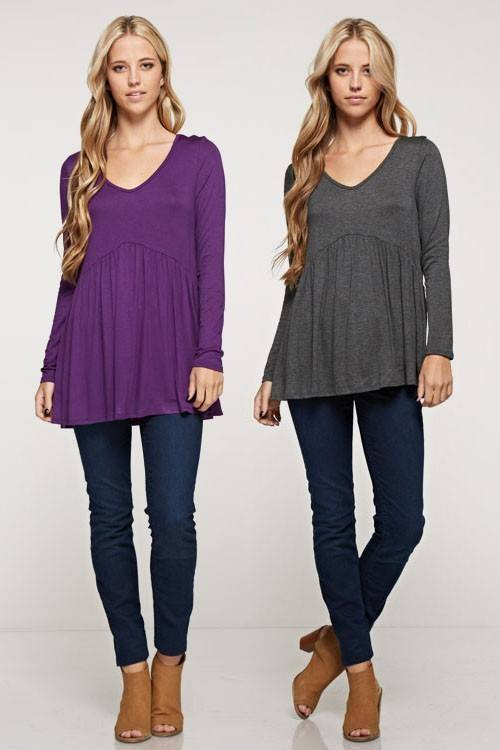 Long Sleeve Baby Doll Top-Purple