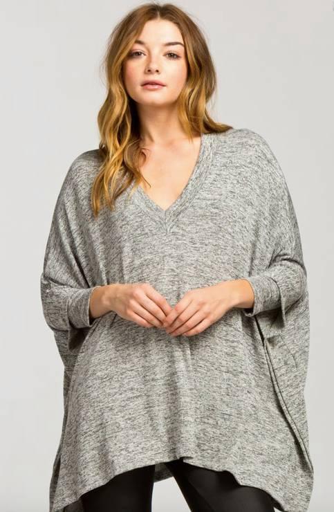 3/4 Sleeve Poncho-Heather Grey