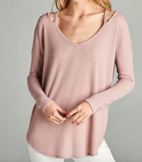 Thermal V-neck Tee-Mauve