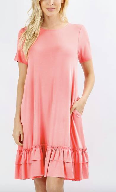 Ruffle Bottom Dress-Three colors available!