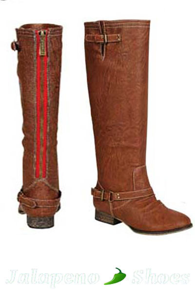 Tan Boots with Contrast Zipper