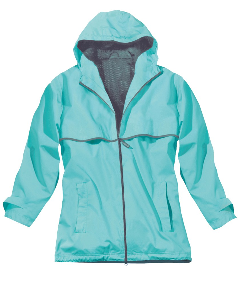Monogrammed Rain Jacket- Aqua
