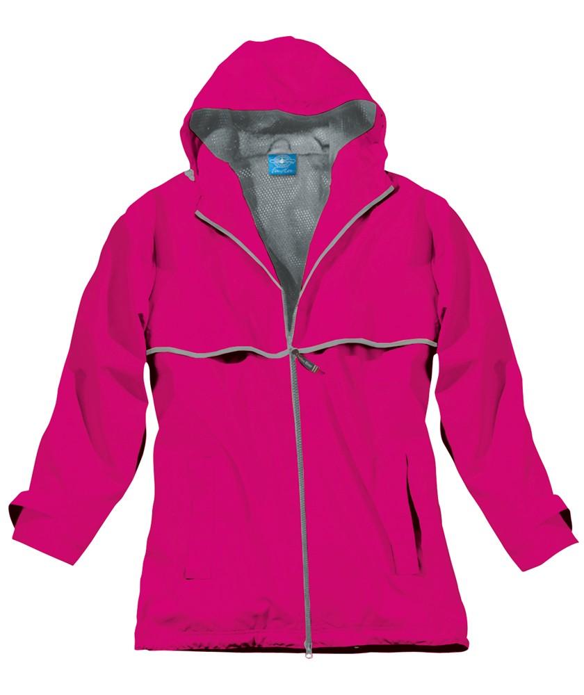 Monogrammed Rain Jacket- Hot Pink