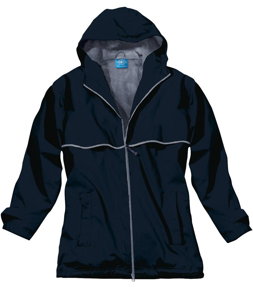 Monogrammed Rain Jacket- Navy
