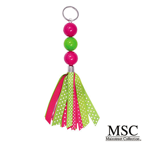 Pink & Lime Ribbon Keychain
